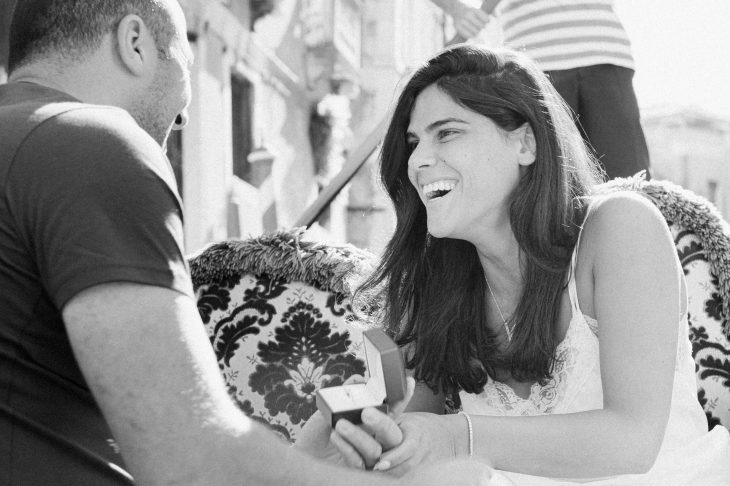 Marriage proposal in Venice on a gondola ride