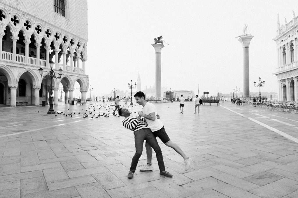 Gay couple Venice Photographer same sex couple in love holiday Italy