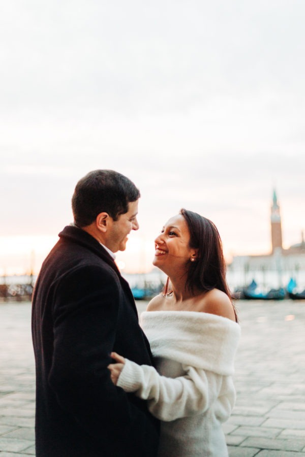 Venice Photographer Wedding Travel Honeymoon Photography Just engaged celebrating their love in Venice, winter sunrise romantic walk