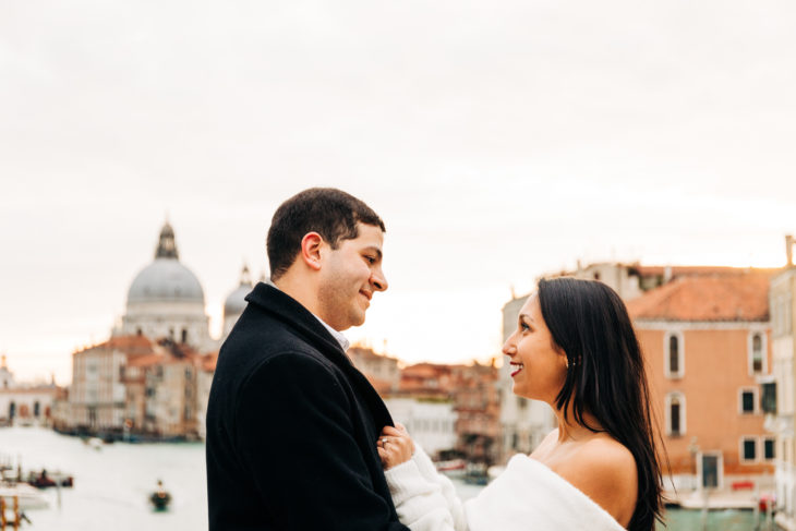 Just engaged Venice Photographer Wedding Travel Honeymoon Photography Just engaged celebrating their love in Venice, winter sunrise romantic walk