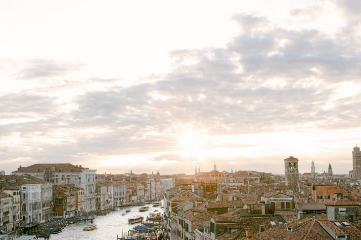 View from above on the Grand Canal and Rialto Sunset