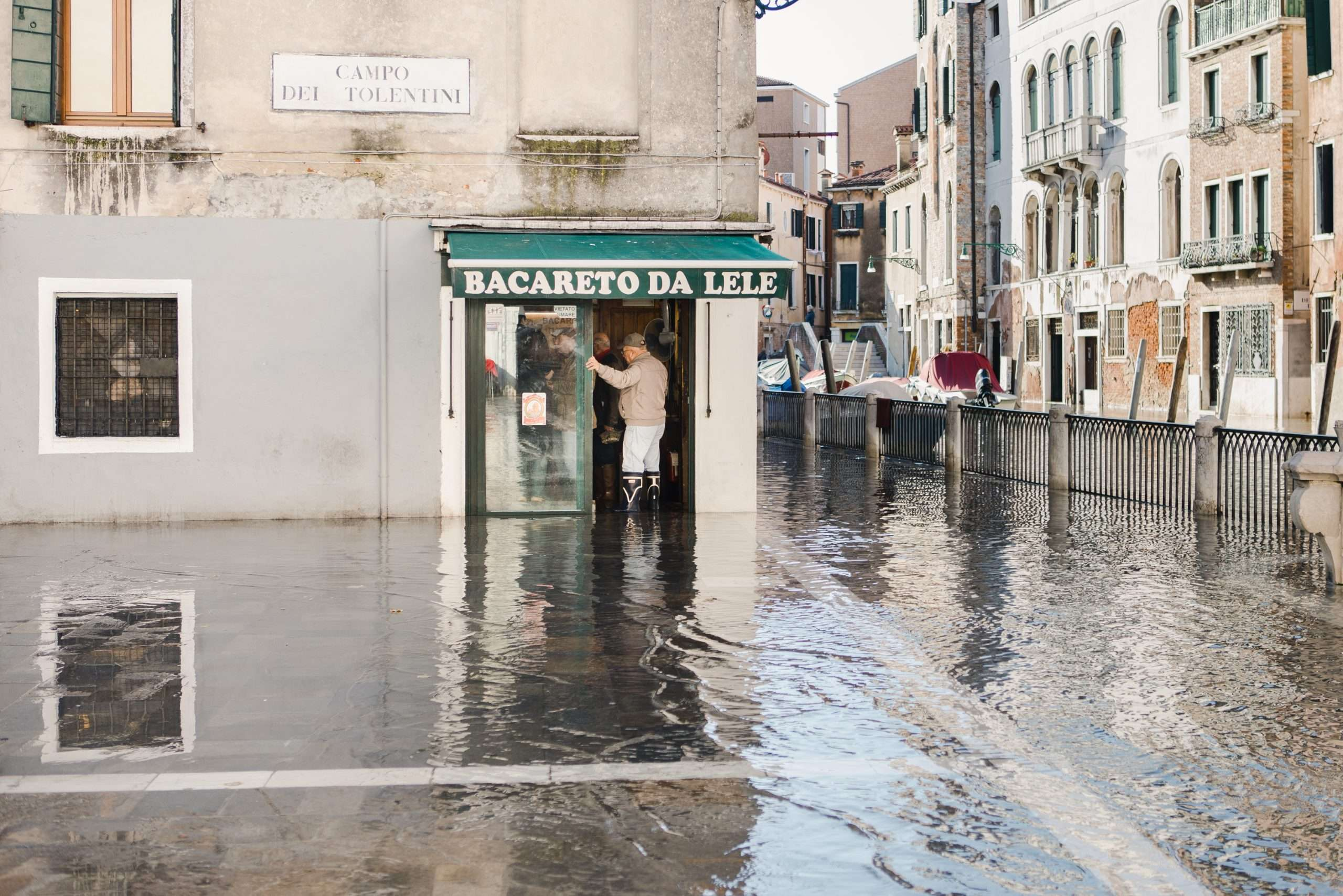 Venice Neighborhoods Santa Croce Bacareto da Lele with Acqua Alta Flood
