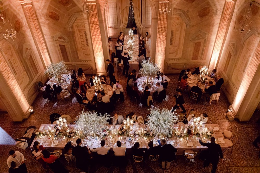 Dinner Luxury Venetian villa wedding in the north of Italy Padova Hills