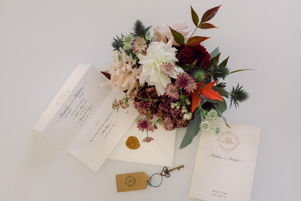 Flower centerpiece Invitation Luxury Venetian villa wedding in the north of Italy Padova Hills